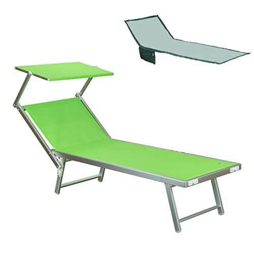 Totò Piccinni Salento Lettino Prendisole Pieghevole in Alluminio con TETTUCCIO Mare Spiaggia Piscina Giardino (Verde)