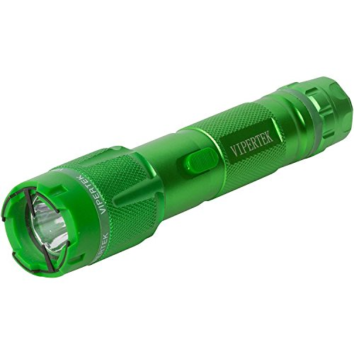 VIPERTEK VTS-T03 - Aluminum Series 59 Billion Heavy Duty Stun Gun - Rechargeable with LED Tactical Flashlight, Green