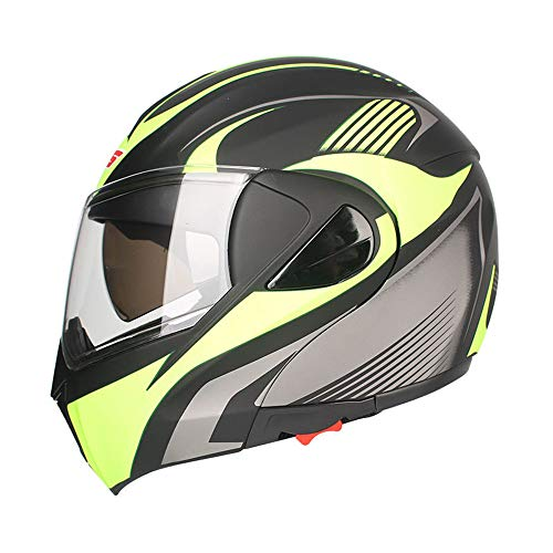 WM&LJP Off Road Motorrad-Sturzhelm, Motorradvollvisierhelm Doppelmasken Sonnenschutzschild, Leichte ABS Motorradhelm,L