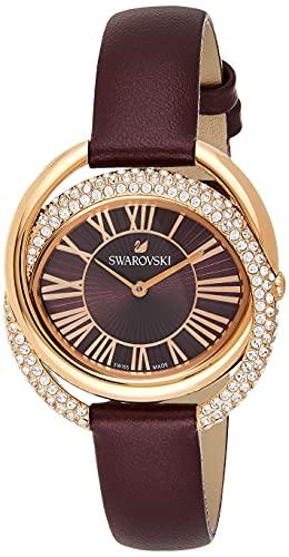 Swarovski Damen Uhr 5484379 Duo Lederarmband, dunkelrot, Rosé vergoldet
