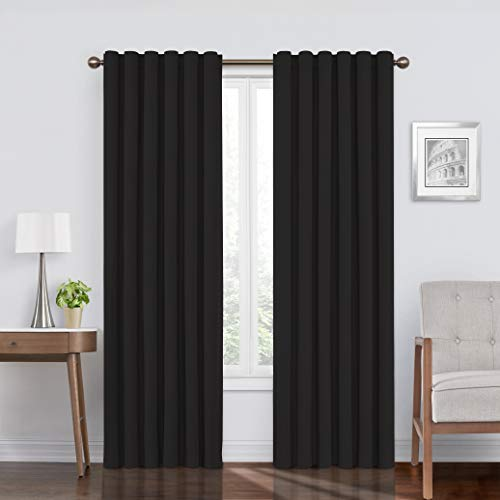 """ECLIPSE Bradley Thermal Insulated Single Panel Rod Pocket Darkening Curtains for Living Room, 50"""" x 63"""", Black"""