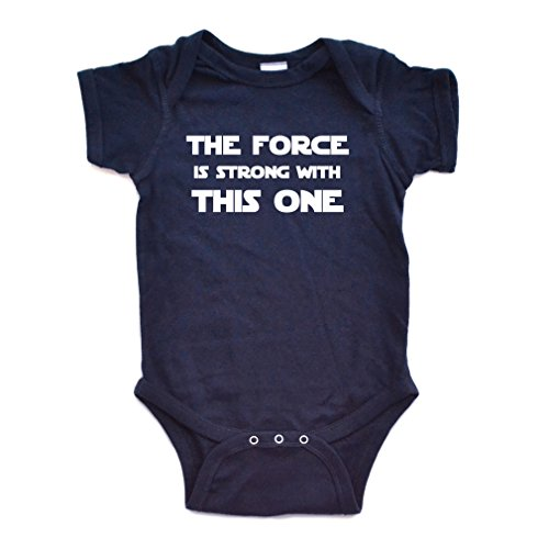 Cute Funny Nerd Geek Humor The Force is Strong With this One Soft Baby Bodysuit, 6 Months, Navy