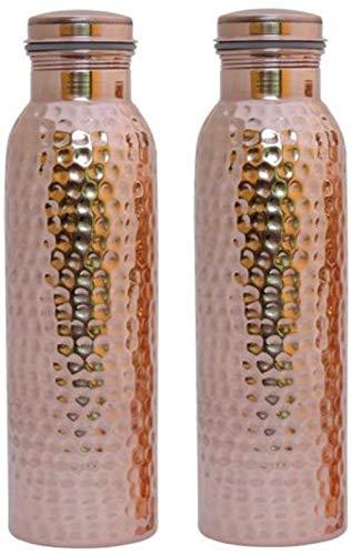 100% Kupferwasserflasche Ayurvedische Kupferwasserflasche - Auslaufsichere Wasserflasche Verschlusskappe, fugenlos Kupferflasche 600 ML (gehämmert)