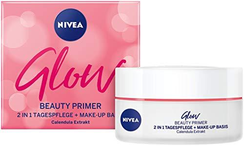 NIVEA Glow Beauty Primer 2 IN 1 Tagespflege im 1er Pack, feuchtigkeitsspendende Gesichtscreme mit Mandelöl & Calendula-Extrakt, pflegende Make-up Basis