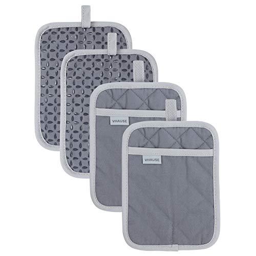 VHAUSE 4er Set Topflappen mit Tasche - Baumwolle Hot Pads mit Rutschfestem Silikongriff und Aufhängeöse - Hitzebeständige Küchentopfhalter Untersetzermatten für Heiße Töpfe Pfannenschalen Grau