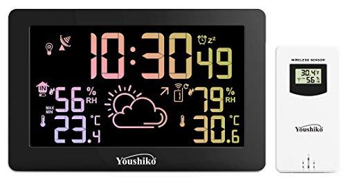 Youshiko Wetterstation, großes LED-Display mit hellem Farbwechsel, Funkuhr (offizielle UK-Version), Innen- und Außen-Temperatur-Thermometer, Luftfeuchtigkeit
