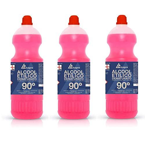 Alcopro Alcool etilico denaturato 90° disinfettante - 3 flaconi da 1 litro