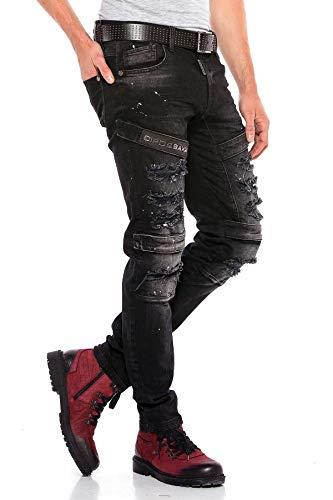 Cipo & Baxx Herren Jeanshose Destroyed Regular Fit Denim Hose Pants Labeldetails Zerrisen Hose Design Jeans Hose Schwarz W34 L32