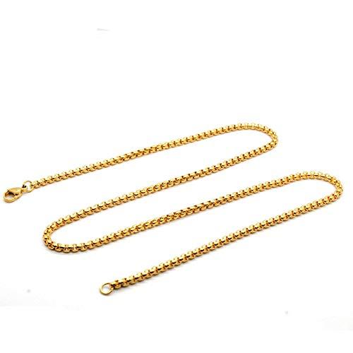 Schmuck Anhänger Mit Kette Titan Stahl Gold Männer Und Frauen Quadrat Perlenkette Schmuck Dicke 3Mm Lang 70Cm