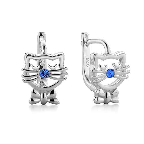 butterfly Bambine Ragazze Argento Orecchini Sterling blu Swarovski Elements Originali Gatto Sacchetto Stoffa Regalo di Conferma