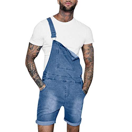 STRIR Peto Corto Hombre - Pantalones Cortos de Mezclilla Peto Vaquero para Hombre Pantalones Cortos de Mezclilla Verano Mono Jeans de Trabajo (L, Azul)
