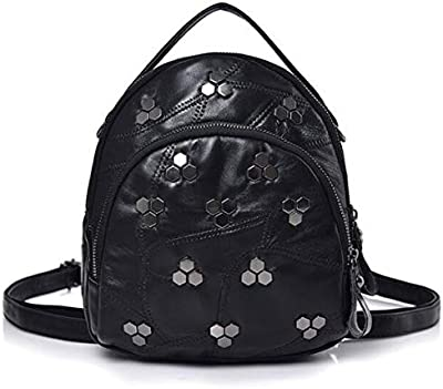 Women Bags Soft Leather Fashion Rivet Shoulder Trend Black Backpack Female Small Rucksack School Back Pack