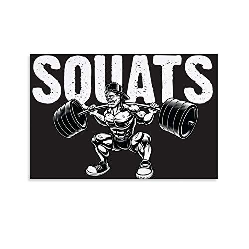 Poster decorativo da parete con motivo 'SQUATS The Gym Is My Playground', per fitness, palestra, palestra, 30 x 45 cm
