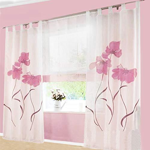 SIMPVALE 2 stücks Gardinenschal Gardine Print Blumen Vorhang für Wohnzimmer Schlafzimmer Schlaufenschal, Breite 150cm / Höhe 175cm, Rosa