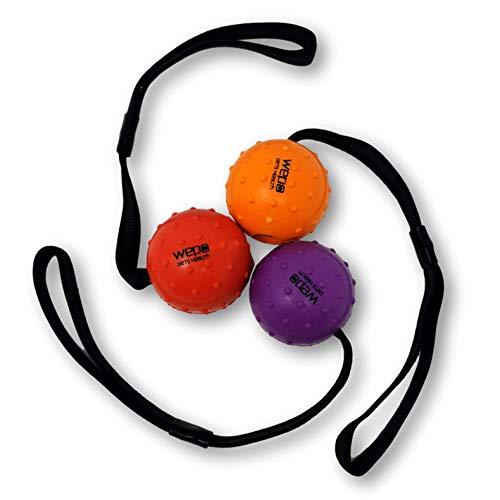 WEPO Perros juguete | ligero centrifugado/pelota con cuerda de caucho natural (Caucho Natural) | para cachorros Ideal juguete AM cuerda para perros, 7cm