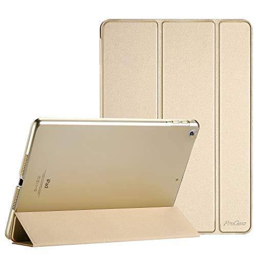 ProCase Hülle für iPad 9.7 2018 iPad 6 Gen /2017 iPad 5 Gen Schutzhülle Case Cover,Dreifach Ultra Dünn Leicht Klapphülle mit Transluzent Rückseite Smart Cover für ipad 9.7 Zoll -Gold