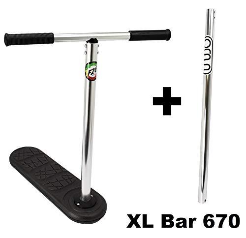 indo 2.0 Trampolin Stunt-Scooter Freestyle Trick Trainer Bundel + XL 670 Lenker + Fantic26 Sticker