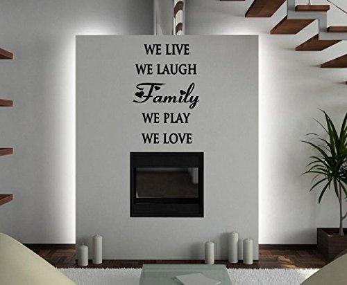 JC design'Family–We Live, Laugh, we Play, noi amiamo. Adesivo grande, Black, Medium: 60cm x 90cm / 24' x 35'