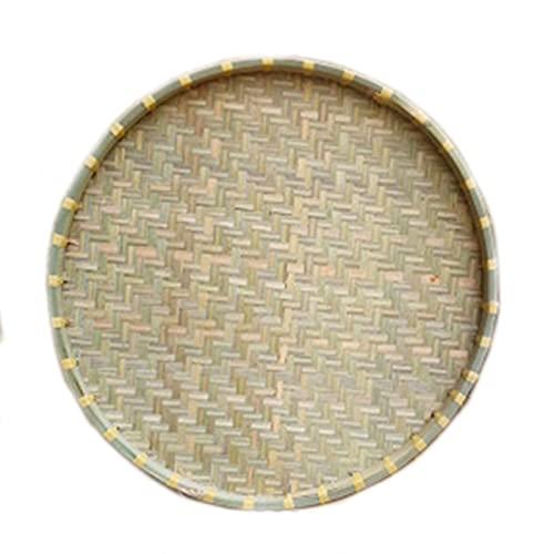 Bambú tejido con agujeros y refuerzo de frontera no perforado Tamale de refuerzo para el hogar Plato de aire tejido bandeja de bambú, placa de bambú tejida a mano natural en uso de la cesta de frutas,