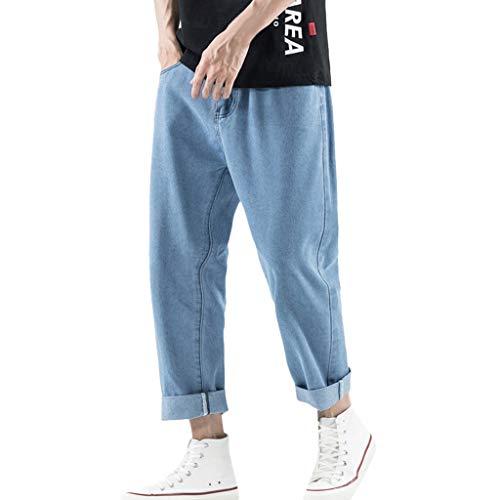 Pantalones Vaqueros de Hombres Rotos Jeans Men Pants Loose Mezcla de algodón Denim Suelto Casuales Moda Color Sólido Baggy Trouser Jeans Long Pants MMUJERY