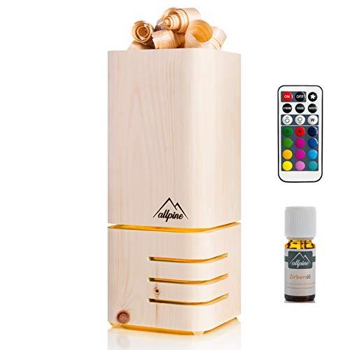 Allpine PuriLamp - Zirbenholz Lufterfrischer mit LED Beleuchtung, leise Luftreiniger aus Zirben Holz, Aromatischer Zirbe Duft Raumlüfter, inkl. Zirbenöl 20ml