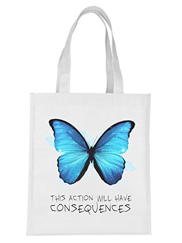 clothinx Einkaufstasche Strange Butterfly Weiß