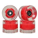 FREEDARE Skateboard Wheels with Bearings 60mm Longboard Wheels LED Cruiser Wheels (Clear Red,Set of 4)