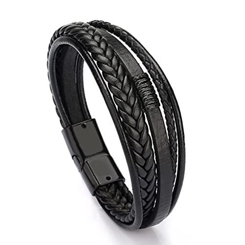 Branets Herren-Armband, Rindsleder, echtes Unisex, Wickelarmband, geflochtenes mehrlagiges Magnetverschluss, Seilarmband für Damen und Herren