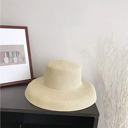 HNGM Sombrero Playa Sombreros Calientes de Verano Sombreros de Paja Plisados Damas Ocio Grandes aerosos Floppy Sol Sombrero Gorras Playa Vacaciones Playa (Color : Beige, Size : M(54 58cm))