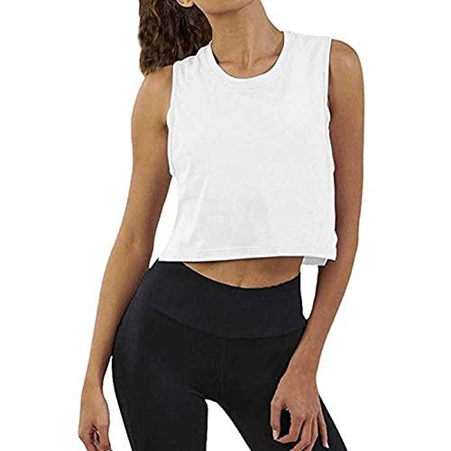 Yoga-T-Shirt für Damen, ärmellos, Sport-Shirt, für Fitnessstudio, Laufen, Fitness, schnelltrocknend, atmungsaktiv Gr. M, weiß