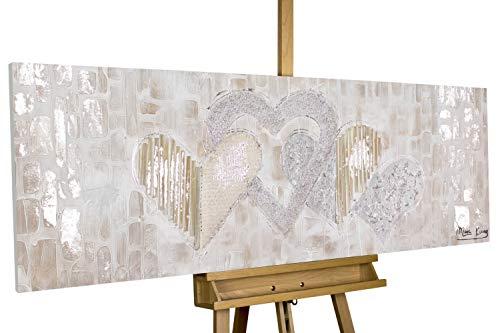 Kunstloft® Cuadro acrílico 'Simply Love' 150x50cm | Original Pintura XXL Pintado a Mano en Lienzo | Corazón Oro Lila Amor | Mural acrílico de Arte Moderno en una Pieza con Marco