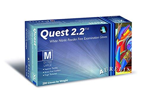 Quest 2.2 92939 - Guante de examen de nitrilo sin polvo, extra grande, color blanco (200 unidades)