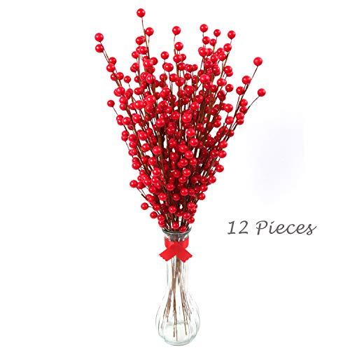 Larksilk 12 Red Holly Berry Stem Picks - Decorative Wire Stem Branch Sprays for Christmas Tree Decoration, Holiday Décor, Silk Flower Arrangements, Home DIY Crafts, 35 Red Berries on Each Stem
