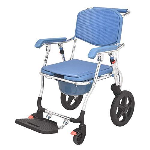Lsqdwy Silla con Inodoro de Ducha con Ruedas, Silla con Inodoro Plegable, Silla de baño para Movilidad y Comodidad, Ayuda de baño higiénica para Personas Mayores, discapacitadas