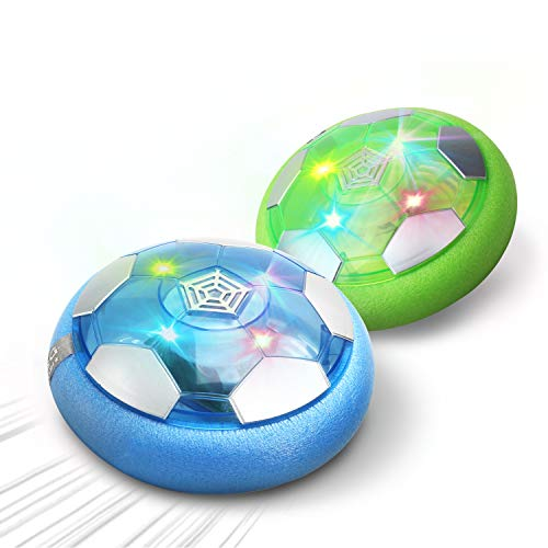 DEERC Kid Toys DE46 Hover Soccer Ball-Set of 2 Rechargeable Air Indoor Soccer Ball with LED Lights and Soft Foam Bumpers, Football Games Toy, Best Gifts for Toddlers,Boy and Girls,No AA Battery Needed