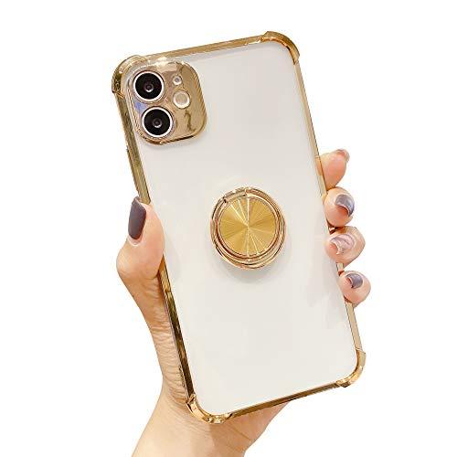 Suhctup Coque Compatible pour iPhone 11 Pro Max avec Support,Etui Case Transparent Silicone TPU Gel [Angles Renforcés] Antichoc Housse Cover avec 360° Support de Voiture Magnetique,Or