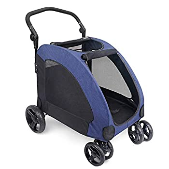 IREENUO Dog Stroller 4 Wheels Pet Jogger Wagon Foldable Cart Adjustable Handle Zipper Entry Skylight Window Stroller Suitable for Variety Roads with Back Pocket for Medium Large Dog Traveling Blue