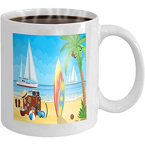 Taza café vintage vieja maleta viaje paraíso playa