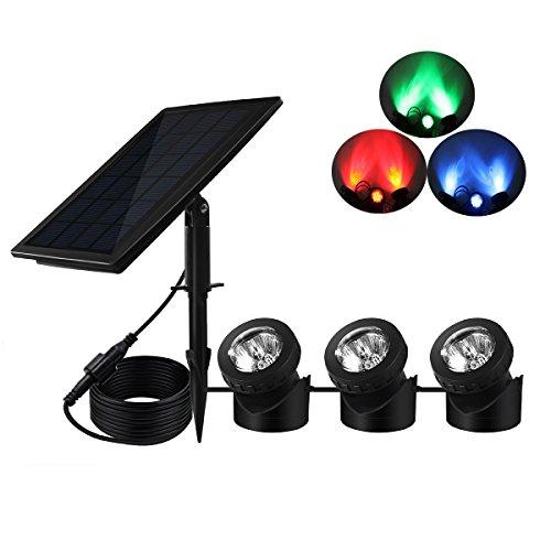 KINGCOO Proyector solar luces de estanque, súper brillantes, 18 LED RGB subacuático...