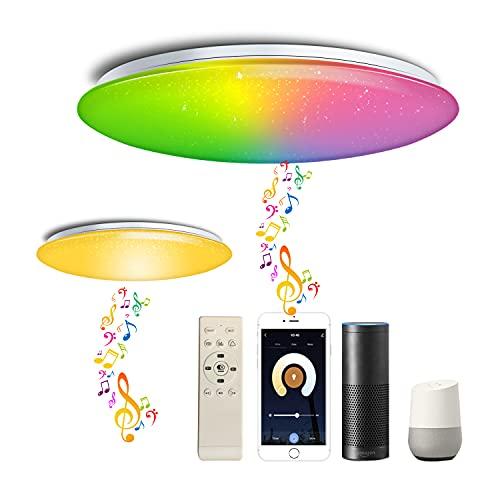 Chysongoods Φ40cm 45W Sternenhimmel Musik Deckenlampe Amazon Alexa Google Home Kompatibel Mit Bluetooth Lautsprecher Deckenleuchte LED RGB Farbwechsel Dimmbar für Küche Schlafzimmer Badezimmer