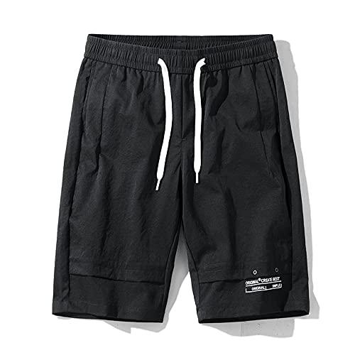 Pantalones Cortos Deportivos con Cintura elástica para Hombre, Moda de Verano, Color sólido, Holgado, cómodo, de Tendencia, Pantalones Cortos de Carga Informales Que Combinan con Todo 30