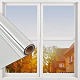 Window Privacy Film,One Way Mirror Film Daytime Anti UV Sun Blocking Heat Control Reflective Film Decorative Static Cling Window Tint for Home Office Living Room(Silver, 17 Inch x 6.5 Feet)