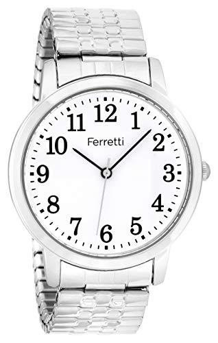Ferretti Unisex | Silberne Erweiterungsarmbanduhr mit großen Zahlen | FT16102