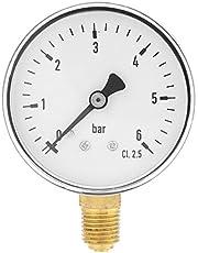 """Mini Manómetro para combustible, aire, aceite y agua,Medidor de presión en miniatuna de alta precisiónde rosca NPT de 1/4"""" de metal,6 cm Rango 0~6 bar"""