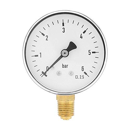 Mini Manómetro para combustible, aire, aceite y agua,Medidor de presión en miniatuna de alta precisiónde rosca NPT de 1/4' de metal,6 cm Rango 0~6 bar
