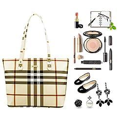 SEPT MIRACLE PU Leather Womens Portable Handbags Tote Bag Shoulder Bag Purse (Kakki)