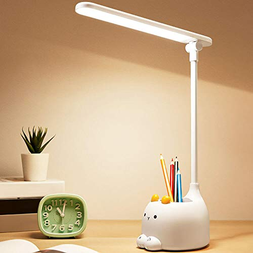 Kids Desk Lamp LED Reading Light with Pen Holder,Eye-Caring 3 Color Modes,Stepless Dimming,Lighting Adjustable Touch Desk Lamp for Home Office Work Room Reading Study Student Dorm Desk Desktop Learn