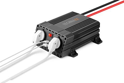 Technaxx Wechselrichter 600W TE19-Zur mobilen Nutzung verschiedener Elektrogeräte über 12V Anschluss, 2X USB, 2X 230V Steckdosen, Modizierte Sinuswelle, Alarm, Spannungswandler, Camping, TÜV, Strom