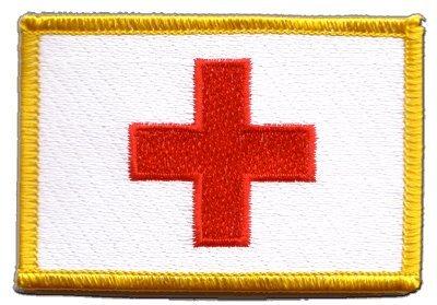 Flaggen Aufnäher Rotes Kreuz Fahne Patch + gratis Aufkleber, Flaggenfritze®