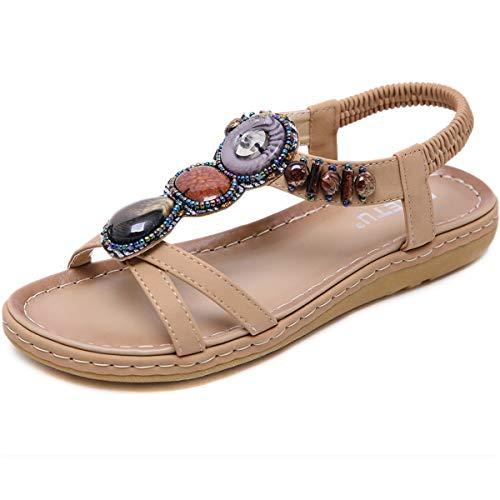 GAXmi Sandali donna eleganti gioiello strass scarpe piatte spiaggia beige 40 EU
